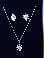 cheap -Women's Cubic Zirconia Jewelry Set - Leaf Sweet, Fashion Include Drop Earrings / Pendant Necklace White For Wedding / Gift
