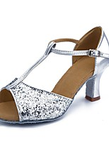 cheap -Women's Latin Shoes Paillette Leatherette Sandal Heel Training Performance Buckle Paillette Cuban Heel Silver 2 - 2 3/4inch Customizable