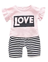 cheap -Kids Toddler Girls' Solid Colored Short Sleeves Clothing Set