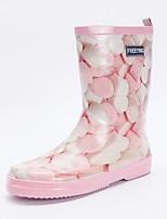 Недорогие -Жен. Обувь Резина Весна Резиновые сапоги Ботинки На плоской подошве Сапоги до середины икры Розовый