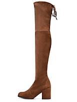 Недорогие -Жен. Обувь Нубук Осень Модная обувь Ботинки На толстом каблуке Заостренный носок Сапоги выше колена Коричневый / Зеленый / Синий