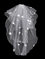 cheap -Two-tier Fashionable Jewelry / Flower Style / Mesh Wedding Veil Chapel Veils 53 Fringe / Splicing 31.5 in (80cm) POLY / Tulle