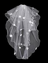 economico -2 strati Floreale / Maglia / Abito trasformabile Veli da sposa Velo lungo (a terra) Con Frangia / A fantasia 31,5 in (80cm) POLY / Tulle