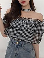 cheap -women's t-shirt - check boat neck