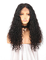 cheap -Remy Human Hair Full Lace Wig Brazilian Hair Curly Wig Middle Part 180% Natural Hairline / With Bleached Knots Women's Long Human Hair Lace Wig
