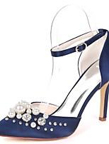 preiswerte -Damen Schuhe Satin Frühling Sommer Pumps Hochzeit Schuhe Stöckelabsatz Spitze Zehe Strass / Perlenstickerei / Imitationsperle Königsblau