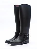 Недорогие -Жен. Обувь КожаПВХ Осень Резиновые сапоги Ботинки На низком каблуке Сапоги выше колена Черный