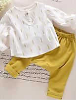 preiswerte -Kinder Mädchen Druck Langarm Kleidungs Set
