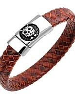 abordables -Homme Bracelets Rigides / Bracelets en cuir - Cuir, Inoxydable Chouette, Animal Rétro Bracelet Bleu de minuit / Café / Marron Pour Cadeau / Travail