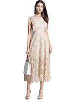 cheap -SHE IN SUN Women's Chinoiserie Flare Sleeve A Line Dress - Solid Colored Lace