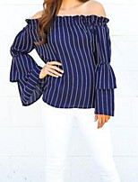 cheap -Women's Blouse - Solid Colored / Striped Off Shoulder / Boat Neck