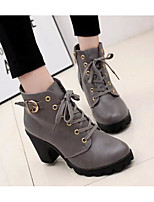 cheap -Women's Shoes PU Fall Combat Boots Boots Chunky Heel Booties / Ankle Boots for Casual Black Gray Brown