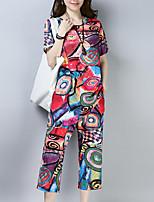 abordables -Mujer Vintage Manga Mariposa Conjunto - Un Color, Plisado Pantalón