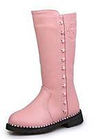 cheap -Girls' Shoes Leatherette Winter Snow Boots Boots Zipper for Outdoor Black Red Pink