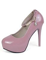 cheap -Women's Shoes PU(Polyurethane) Spring Basic Pump Heels Stiletto Heel Round Toe Rhinestone / Buckle White / Black / Pink