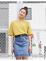 economico -T-shirt Per donna Tinta unita Cotone / Cotone