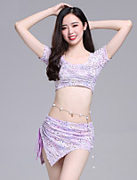 cheap -Belly Dance Outfits Women's Performance Spandex Bandage / Ruching Short Sleeve Dropped Skirts / Top