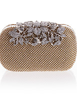 cheap -Women's Bags Polyester Evening Bag Crystals / Flower Gold / Black / Silver