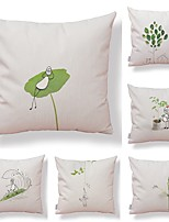 cheap -6 pcs Textile / Cotton / Linen Pillow case, Art Deco / Printing / Leaf Simple / Square Shaped