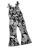 cheap -Kids Toddler Girls' Black & Gray Geometric Print Sleeveless Clothing Set