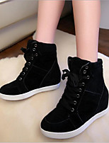 cheap -Women's Shoes Canvas Winter Comfort Boots Flat Heel for Casual Black Red