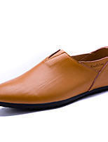 cheap -Men's Shoes Cowhide Spring Fall Comfort Loafers & Slip-Ons for Casual Black Coffee Brown