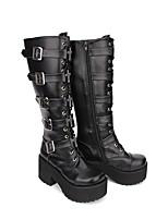 abordables -Gothique Punk Classique Gothique Creepers Chaussures Couleur Pleine 8cm CM Noir Pour PU
