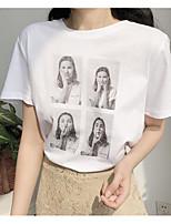 economico -T-shirt Per donna Vintage Nappa, Tinta unita In bianco e nero