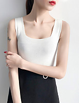 cheap -women's tank top - solid colored square neck