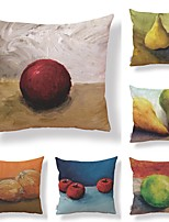 cheap -6 pcs Textile / Cotton / Linen Pillow case, Art Deco / Retro / Printing Fruit / Square Shaped