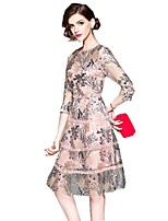 cheap -SHE IN SUN Women's Chinoiserie A Line Dress - Floral Lace