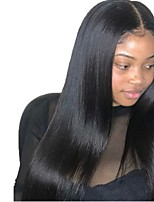cheap -Virgin Human Hair Full Lace Wig Brazilian Hair Straight Layered Haircut 130% Density With Baby Hair Black Women's Short / Long / Mid Length Human Hair Lace Wig