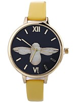 baratos -Mulheres Relógio de Pulso Chinês Criativo / Adorável / Mostrador Grande PU Banda Fashion / Minimalista Preta / Branco / Azul