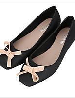 cheap -Women's Shoes PVC Leather Summer Comfort Flats Flat Heel Square Toe Black / Almond