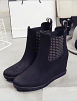 abordables -Femme Chaussures Cuir PVC Printemps été Bottes de pluie Bottes Hauteur de semelle compensée Bout rond Gris / Bleu / Bourgogne