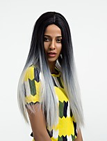 cheap -Synthetic Wig Straight Middle Part Synthetic Hair Ombre Hair Black / Gray Wig Women's Very Long Natural Wigs Capless Daily / Yes