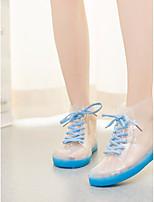 Недорогие -Жен. Обувь ПВХ Весна лето Силиконовая обувь Ботинки На плоской подошве Открытый мыс Ботинки Синий / Розовый / Оранжевый и черный