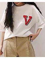 cheap -Women's Vintage T-shirt - Solid Colored Blue & White, Tassel