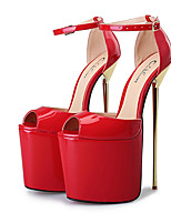 cheap -Women's Shoes PU Spring & Summer Basic Pump Heels Stiletto Heel Peep Toe Buckle Silver / Red / Almond / Party & Evening