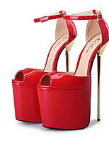 abordables -Femme Chaussures Polyuréthane Printemps été Escarpin Basique Chaussures à Talons Talon Aiguille Bout ouvert Boucle Argent / Rouge / Amande