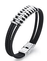 baratos -Homens 1 Bracelete - Fashion Forma Geométrica Preto Pulseiras Para Presente Diário