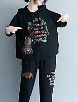 baratos -Mulheres Camiseta Floral / Letra Algodão Solto