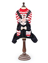 cheap -Dogs / Cats / Pets Jumpsuit Dog Clothes Striped / Vintage / Rabbit / Bunny Black / Red Cotton / Polyester Costume For Pets Male Cowboy /