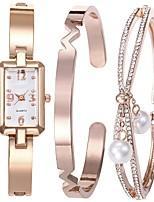 Недорогие -Жен. Кварцевый Часы-браслет Японский Секундомер сплав Группа минималист / Кольцеобразный Серебристый металл / Розовое золото