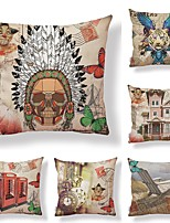 cheap -6 pcs Textile / Cotton / Linen Pillow case, Floral / Art Deco / Printing Artistic / Square Shaped