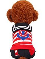 cheap -Dogs / Cats / Pets Sweatshirt / Jumpsuit Dog Clothes Striped / Heart / Patterned Black / Red Cotton Costume For Pets Female Sweet Style /