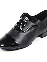 cheap -Men's Latin Shoes Cowhide Oxford Performance Practice Chunky Heel Black