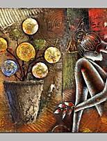 Недорогие -Hang-роспись маслом Ручная роспись - Абстракция Винтаж холст