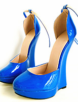 cheap -Women's Shoes PU(Polyurethane) Spring & Summer Novelty Heels Wedge Heel Round Toe Fuchsia / Blue / Light Blue / Party & Evening