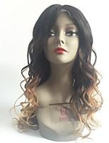 Недорогие -Remy Лента спереди Парик Бразильские волосы Естественные кудри Парик Стрижка каскад 130% Волосы с окрашиванием омбре / Темные корни Блондинка Жен. Длинные